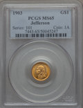 Commemorative Gold, 1903 G$1 Louisiana Purchase, Jefferson Gold Dollar MS65 PCGS. PCGSPopulation (743/686). NGC Census: (465/467). Mintage: 17...