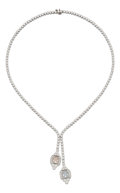 Estate Jewelry:Necklaces, Colored Diamond, Diamond, Platinum Necklace. ...