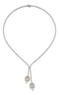 Colored Diamond, Diamond, Platinum Necklace
