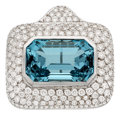 Estate Jewelry:Brooches - Pins, Aquamarine, Diamond, White Gold Pendant-Brooch. ...