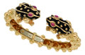 Estate Jewelry:Bracelets, Ruby, Enamel, Gold Bracelet, David Webb. ...