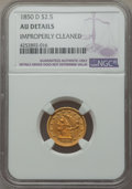 Liberty Quarter Eagles, 1850-D $2 1/2 -- Improperly Cleaned -- NGC Details. AU. Variety 13-N....