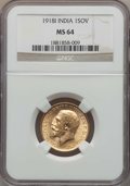 India:British India, India: British India. George V Sovereign 1918-I MS64 NGC,...