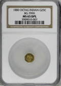 California Fractional Gold, 1880 25C Indian Octagonal 25 Cents, BG-799X, R.3, MS65 DeepProoflike NGC....