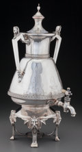 Silver Holloware, American:Hot Water Kettles , A Meriden Brittania Company Silver-Plated Egyptian Revival HotWater Urn, Meriden, Connecticut, circa 1875-1885. Marks:ME...