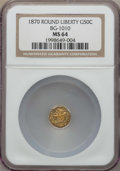 California Fractional Gold , 1870 50C Liberty Round 50 Cents, BG-1010, R.3, MS64 NGC. NGCCensus: (14/11). PCGS Population (43/25). ...