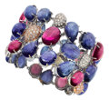 Estate Jewelry:Bracelets, Tanzanite, Pink Sapphire, Diamond, Gold Bracelet. ...