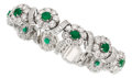 Estate Jewelry:Bracelets, Emerald, Diamond, Platinum Bracelet. ...