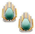 Estate Jewelry:Earrings, Turquoise, Diamond, Platinum, Gold Earrings, David Webb. ...(Total: 2 Items)