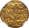 Ancients:Byzantine, Ancients: Constantine VI (AD 780-797), with Leo IV the Khazar, LeoIII, and Constantine V. AV solidus (4.38 gm)....