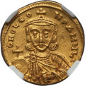 Ancients:Byzantine, Ancients: Leo III the Isaurian (AD 717-741), with Constantine V (AD720-775). AV solidus (20mm, 4.30 gm, 6h)....