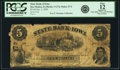 Obsoletes By State:Iowa, Des Moines, IA - State Bank of Iowa, at Des Moines $5 Oct. 1, 1859 IA-1 G74 SENC, Oakes 37-5. PCGS Fine 12 Apparent.. ...