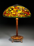 Art Glass:Tiffany , A Tiffany Studios Nasturtium Leaded Favrile Glass and BronzeTable Lamp, Corona, New York, circa 1910. Marks to ... (Total: 2Items)