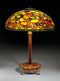 A Tiffany Studios Nasturtium Leaded Favrile Glass and Bronze Table Lamp, Corona, New