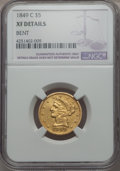 1849-C $5 -- Bent -- NGC Details. XF. NGC Census: (20/185). PCGS Population (36/129). Mintage: 64,800. CDN Wsl. Price fo...