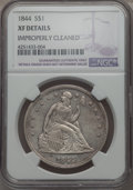 Seated Dollars, 1844 $1 -- Improperly Cleaned -- NGC Details. XF. NGC Census: (12/136). PCGS Population (27/198). Mintage: 20,000. CDN Wsl....