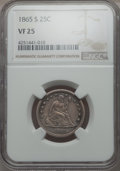 1865-S 25C VF25 NGC. NGC Census: (1/35). PCGS Population (6/37). Mintage: 41,000. From The Ohio Valley Collection.&l...