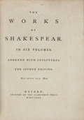Books:Fine Bindings & Library Sets, [Sir Thomas Hanmer, editor]. William Shakespeare. The Works of Shakespear. Oxford: Printed at the Clarendon Press, 1... (Total: 6 Items)