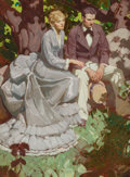 Pulp, Pulp-like, Digests, and Paperback Art, Mead Schaeffer (American, 1898-1980). Couple in Garden, GoodHousekeeping interior illustration, May 1932. Oil on canvas...