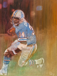 Bernard Fuchs (American, 1932-2009) Earl Campbell, Houston Oilers, circa 1980 Oil on canvas 31 x