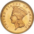 Three Dollar Gold Pieces, 1879 $3 MS64 NGC....