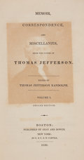 Books:Biography & Memoir, [Thomas Jefferson]. Memoir, Correspondence, andMiscellanies... Boston: 1830. Second edition.... (Total: 4Items)