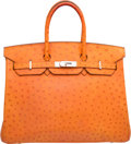 Luxury Accessories:Bags, Hermes 35cm Tangerine Ostrich Birkin Bag with Palladium Hardware . H Square, 2004 . Good to Very Good Condition. 1...