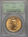 Saint-Gaudens Double Eagles, 1914 $20 AU55 PCGS. PCGS Population (35/2042). NGC Census: (21/1680). Mintage: 95,250. . From The Ohio Valley Collectio...