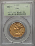 Liberty Eagles: , 1880-O $10 VF30 PCGS. PCGS Population (8/162). NGC Census: (3/176). Mintage: 9,200. . From The Ohio Valley Collection....