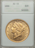 Liberty Double Eagles: , 1890 $20 AU55 ANACS. NGC Census: (18/611). PCGS Population (57/679). Mintage: 75,995. . From The Ohio Valley Collection...