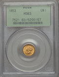 1853 G$1 MS63 PCGS. PCGS Population (1068/860). NGC Census: (1312/1128). Mintage: 4,076,051. CDN Wsl. Price for problem...
