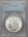 Morgan Dollars: , 1891-CC $1 MS62 PCGS. PCGS Population (3315/9390). NGC Census: (1177/2956). Mintage: 1,618,000. . From The Ohio Valley ...