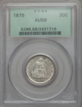 1875 20C AU58 PCGS. PCGS Population (88/219). NGC Census: (60/234). Mintage: 38,500. From The Ohio Valley Collection...