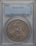 Seated Dollars: , 1842 $1 XF45 PCGS. PCGS Population (155/367). NGC Census: (92/376). Mintage: 184,618. . From The Ohio Valley Collection...