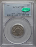 1881 5C VF25 PCGS. CAC. PCGS Population (8/227). NGC Census: (6/123). Mintage: 68,800. From The Ohio Valley Collectio...