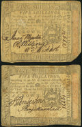 Colonial Notes:Pennsylvania, Pennsylvania October 1, 1773 5s Fine Two Examples.. ... (Total: 2notes)