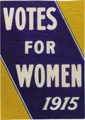 """Antiques:Posters & Prints, American Suffrage Poster """"Votes For Women 1915"""", 18"""" x 24"""". Thisno-nonsense declaration is rendered in blue and gold-- tra..."""