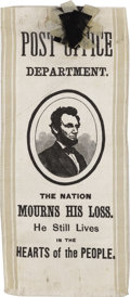 """Political:Ribbons & Badges, Abraham Lincoln Silk Mourning Ribbon. A 3/4 profile portrait of the slain president is within a black oval border; """"POST OFF..."""