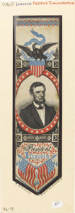 """Political:Ribbons & Badges, Rare Lincoln Second Inauguration Stevengraph Silk Bookmark. This handsome 2"""" x 8.25"""" silk woven ribbon is signed on the back..."""