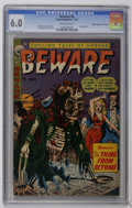 "Golden Age (1938-1955):Horror, Beware #6 Davis Crippen (""D"" Copy) pedigree (Trojan/Prime, 1953)CGC FN 6.0 Off-white pages. Used in Seduction of the Inno..."