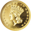 Proof Gold Dollars: , 1887 G$1 PR68 Cameo NGC. Type Three. The 1887 gold dollar had ahigh mintage of 1,043 proofs. However, a great many were ap...
