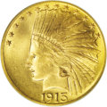 Indian Eagles: , 1913 $10 MS66 PCGS. While common enough in lower grades, enough soto be used for type purposes, the 1913 is a condition ra...