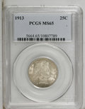 Barber Quarters: , 1913 25C MS65 PCGS. Medium honey-gold and cream-gray toning gracesthis lustrous and impressively unabraded Gem. The strike...