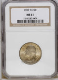 Washington Quarters: , 1932-D 25C MS61 NGC. Soft luster shows through a coating ofgolden-gray patina that takes on a somewhat speckled appearance...