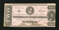 Confederate Notes:1862 Issues, T54 $2 1862. A little bit of handling and a small moisture spot inthe lower left-hand corner are noticed. About Uncircula...