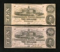 Confederate Notes:1862 Issues, A pair of T52's. This Very Fine pair contains a PF-1, Cr.369 aswell as a PF-11, Cr. 378, which is listed as a Rarity 8.... (Total:2 notes)