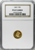Proof Gold Dollars: , 1863 G$1 PR67 Cameo NGC. Jeff Garrett and Ron Guth, in their book entitled Encyclopedia of U.S. Gold Coins, 1795-1933, ...