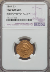 1869 $3 -- Improperly Cleaned -- NGC Details. Unc....(PCGS# 7990)