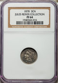 1878 3CN PR64 NGC. Ex: Jules Reiver Collection. NGC Census: (132/331). PCGS Population (251/351). Mintage: 2,350. CDN Ws...