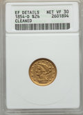 1854-D $2 1/2 -- Cleaned -- ANACS. XF Details, Net VF30. Variety 18-N....(PCGS# 7771)